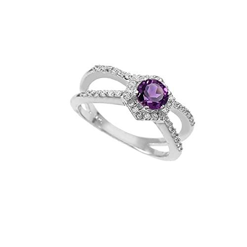 Anillo de plata de ley 925|De piedras preciosas Redondo Facetadas de amatista natural de calidad Para mujer|Anillo de amatista, anillo de compromiso, anillo astrológico|Talla de anillo 18.5 (D6)