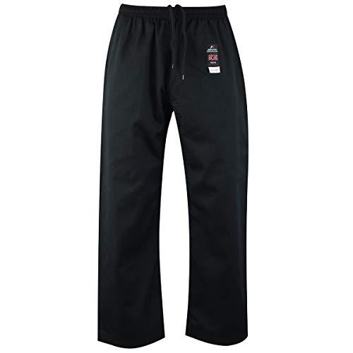 Malino Karate Hose für Kinder, Erwachsene, Männer Kampfkunst Hosen, 7 Unzen Poly-Baumwolle Schwarz/Weiß (0/130, Schwarz)