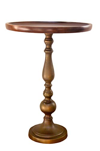 ASPECT Zoey Acacia Wood Top Aluminum Pedestal Accent Side Drink Table, Antique Brass, 40 dia x 55(H) cm