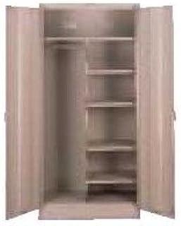 Amazon Com Deluxe 2 Door Storage Cabinet Color Medium Grey Doors Walnut Grain Vinyl Modular Storage Systems Office Products