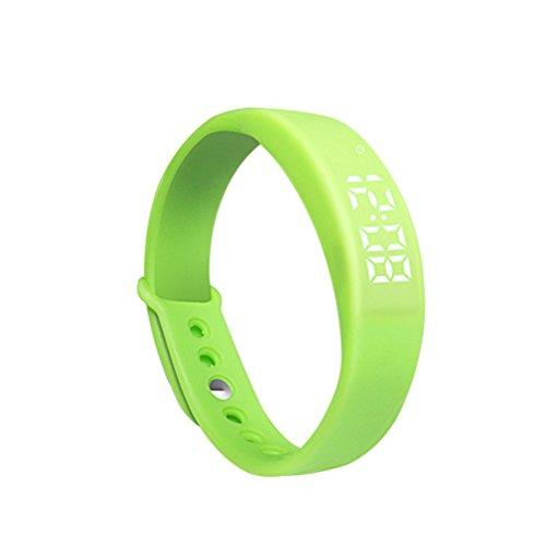PIXNOR W5 Intelligente LED-Armband (Pedometer, Thermometer, Schlaf-Monitor, Vibrationsalarm) - grün