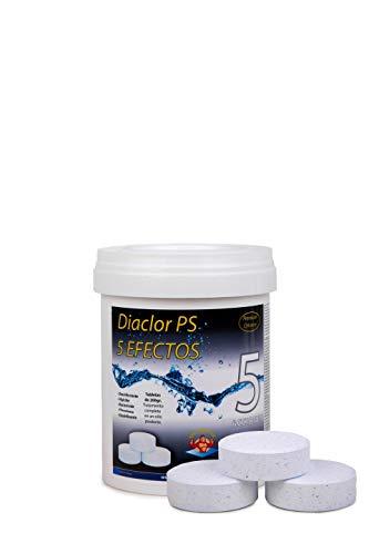 Cloro para piscinas DIACLOR PS 5 EFECTOS 1 KG - 5 Pastillas de Cloro Lento (200 gr) - Tratamiento Completo 5 Acciones