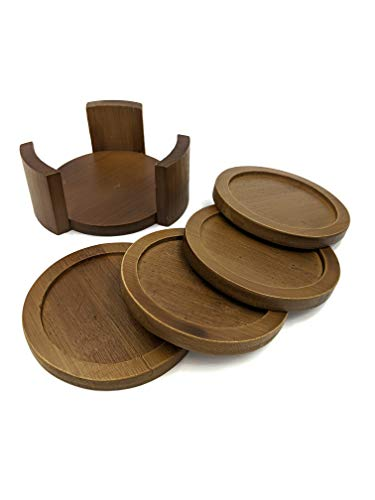 Coaster Set with Holder | Bamboo Wood | Includes 4 Round Coasters and one Holder | Use for Drinks, Beverages, Beer, Coffee! | Barware Kitchen | Housewarming (Dark Brown)