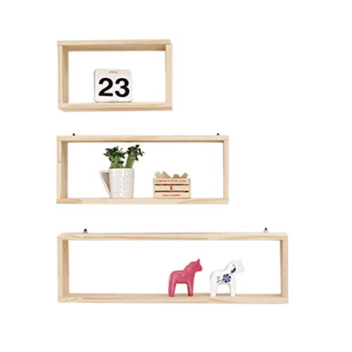 XLYYHZ 1HUIYANG-01020 - Estantes flotantes decorativos de madera maciza, montaje en pared para sala de estar, dormitorio, cocina, exhibición de 3 piezas, 40 cm, 60 cm, 80 cm