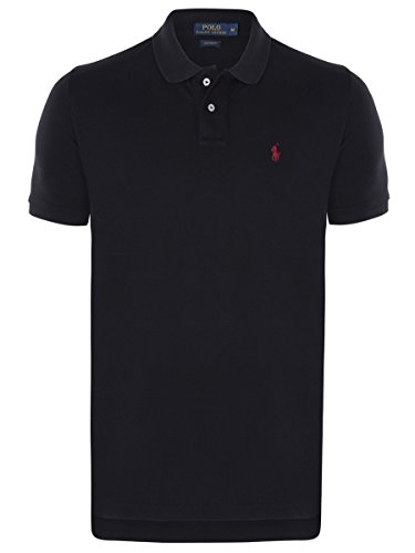Ralph Lauren Polo | Herren Poloshirt | kurzarm Small Pony 2015 versch. Farben S,M,L,XL,XXL, Farbe:Schwarz. rotes Logo;Größe:S