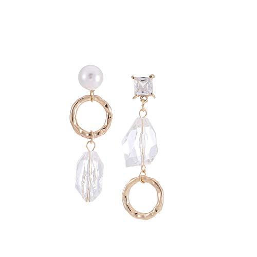 Pendientes de perlas de cristal transparente con aguja de plata s925 pendientes asimétricos geométricos de temperamento de moda para mujer