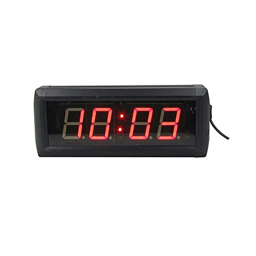 WyaengHai Countdown-Uhr Timer Countdown-Uhr Mit Fern Fitness Gym Indoor-Intervall-Training Geeignet für Fitness-Studio Fitness (Farbe : Schwarz, Größe : 34X10X4CM)