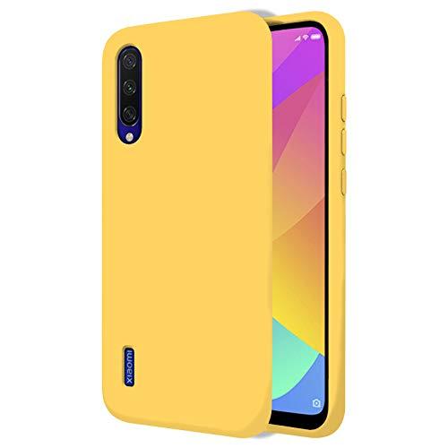 """TBOC Funda para Xiaomi Mi 9 Lite [6.39""""]- Carcasa Rígida [Amarilla] Silicona Líquida Premium [Tacto Suave] Forro Interior Microfibra [Protege la Cámara] Antideslizante Resistente Suciedad Arañazos"""