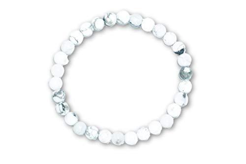 Taddart Minerals – Pulsera blanca gris de la piedra preciosa natural magnesita con bolas de 6 mm montadas en hilo de nailon elástico – hecha a mano