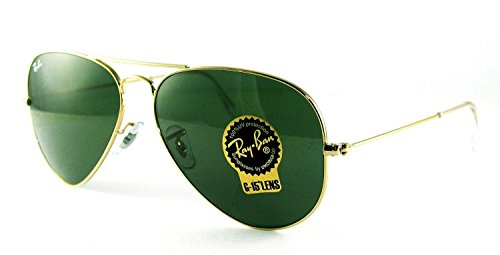 Ray-Ban RB3025 Classic Aviator Sunglasses Gold/Crystal Green (L0205) RB 3025 58mm…
