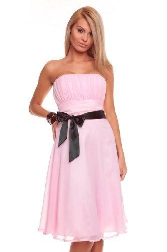 Knielanges Bandeau Kleid Chiffon Ballkleid Abendkleid Cocktailkleid Festkleid XS bis XXL L (38)...
