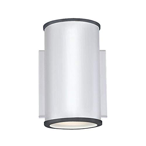 Westinghouse Lighting 6580740 – Apparecchiatura da parete da esterno LED dimmerabile Marius a una luce, finitura in nichel lucente con vetro smerigliato