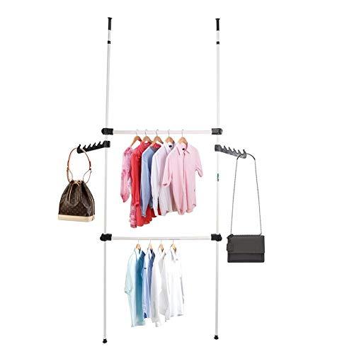 lyrlody Kledingrek, verstelbaar rek, kledingkast, garderobestandaard, telescoop, garderobesysteem, 2 stangen, 2 dwarsbalken