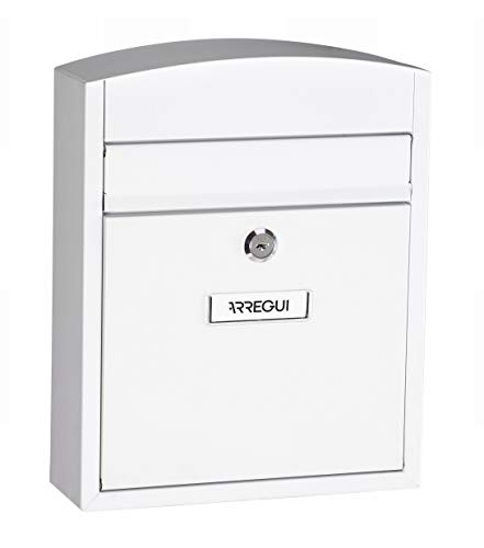 Arregui Compact E5731 Buzón Individual de Acero, Blanco, Tamaño S (DIN A5) -28.5 x 24 x 9.5 cm