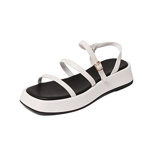 YHCS Tamaño 34-40 Mujeres Sandalias de Cuero Real Zapatillas Plataforma Terraza de Hebilla Casual Moda al Aire Libre Daily Summer Damas Calzado