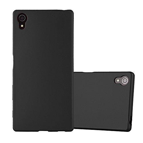 Cadorabo Funda para Sony Xperia Z5 en Metallic Negro - Cubierta Proteccíon de Silicona TPU Delgada e Flexible con Antichoque - Gel Case Cover Carcasa Ligera