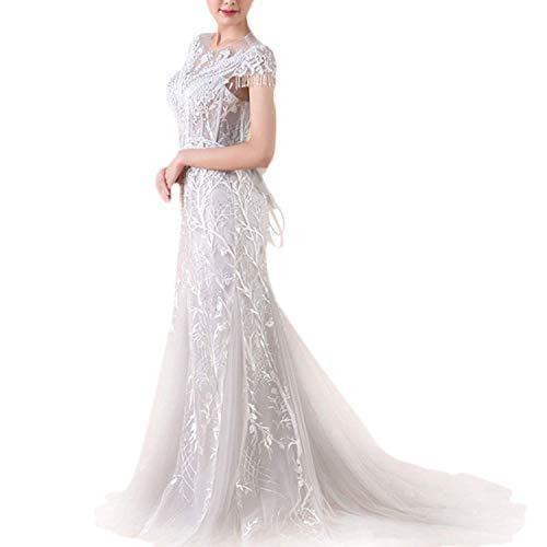 Elegant Dress Abito da Sposa da Sposa in Chiffon di Grandi Dimensioni in Chiffon di Pizzo da Donna Abito da Sposa per Matrimonio, 16, US Size