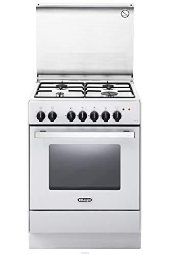 De Longhi DEVW 65 ED - Cucina a gas con forno elettrico ventilato, 60x50 cm, Classe A, Bianco