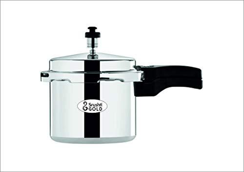 Srushti Gold Induction Base Aluminium Pressure Cooker, 3 litres, Silver
