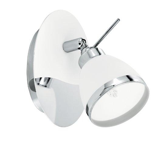 Eglo modèle de Applique murale LED Volpino/2 ampoules en acier galvanisé et argenté/blanc clair plastique/2 x 6 W LED Blanc Chaud/Ampoule incluse/Ampoule interchangeable/Protection IP44/29 x 11,5 cm, écart 60 cm 91769