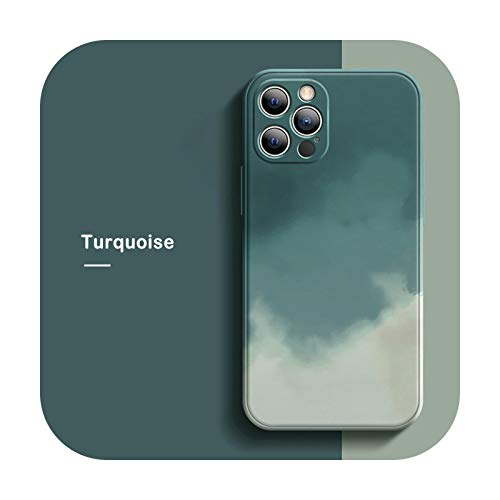 Funda ultrafina de silicona líquida para iPhone 12 Mini 11 Pro Max XS Max XR X 8 7 Plus funda de protección de la cámara-Turquesa-para iPhone 7 u 8