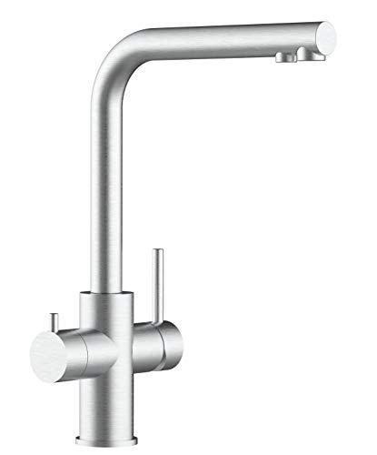 Rubinetto cucina 5 vie per sistemi acqua gasata/aromatizzata e filtro depurazione - finitura spazzolata