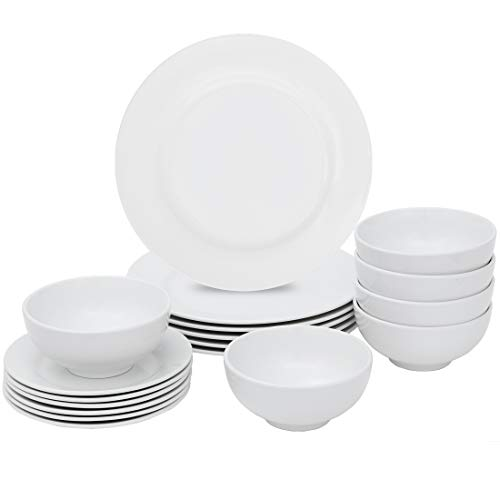 SUPER DEAL Round 18-Piece White Kitchen Dinnerware Set Service for 6 Plates and Bowls – Microwave Oven and Dishwasher Safe