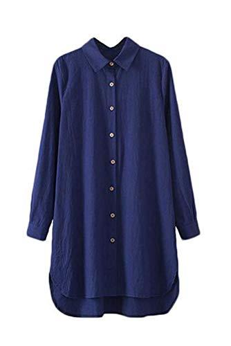 Minibee Women's Long Sleeve Shirts Button Down Blouse Plus Sizes Tunic High Low Tops Navy