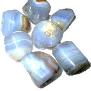 "Wow Blue Lace Agate Tumbled Stone 100 grams Approx. 0.75"" to 1""inch Genuine A Grade w/ Velvet Pouch"
