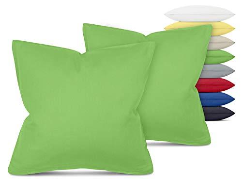 Unifarbene Kissenbezüge im Doppelpack - in 8 Farben und 3 Größen - Moderne Wohndekoration in dezentem Design, ca. 40 x 40 cm, grün