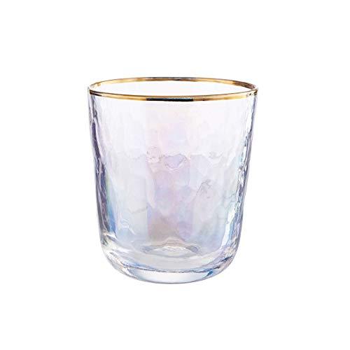 BUTLERS Smeralda 6er Set Trinkglas mit Goldrand 280ml - Wasserglas in Perlmutt - Glas, Saftglas mit Holografic-Effekt