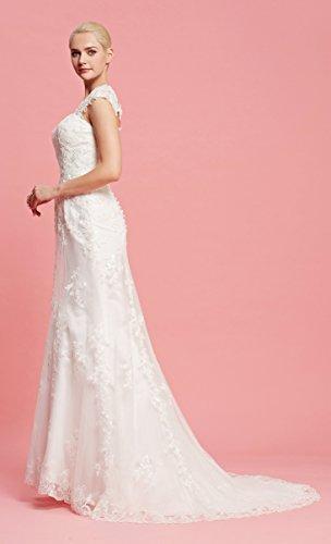 Brautkleid mit herzförmigen Ausschnitt und Träger aus transparentem Stoff und Spitze - 7