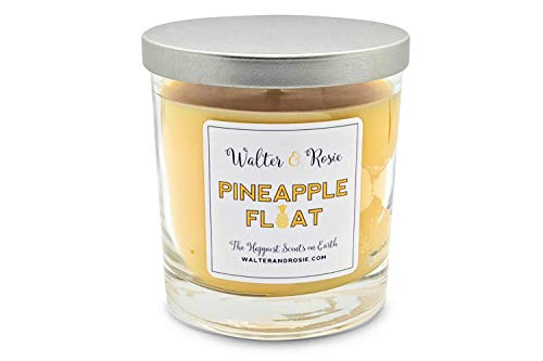 Walter & Rosie Candle Co. - Pineapple Float 11oz Scented Candle Inspired by Disney Scents & Dole Whip - Smell Like Disney Resorts - Happiest Scents on Earth - Paraffin & Soy Blended - Up to 40 Hrs