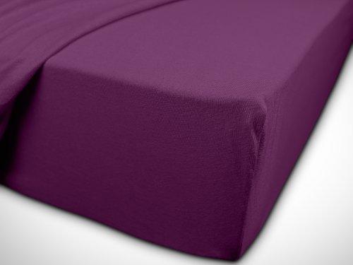 npluseins klassisches Jersey Spannbetttuch – erhältlich in 34 modernen Farben und 6 verschiedenen Größen – 100% Baumwolle, 70 x 140 cm, lila - 7