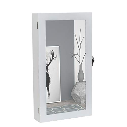 LeafRed C Jewelry Cabinet Armoire with Mirror, Wall-Mounted Space Saving Jewelry Storage Organizer Hanging Wall Mirror White Jewelry Armoire with Full Length Mirror, Larger Capacity, Dressing Mirror