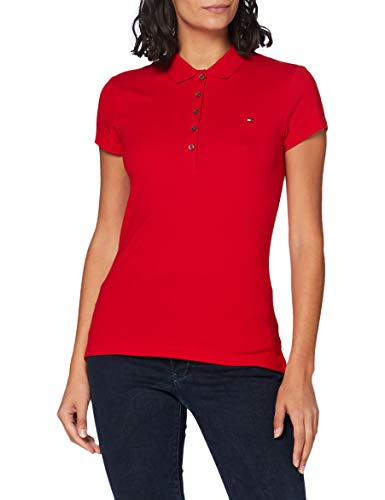 Tommy Hilfiger New Chiara Str Pq Polo SS, Rojo (Apple Red), 38 (M) para Mujer