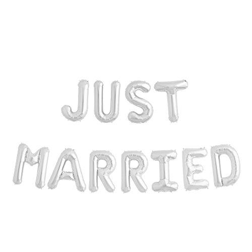 ballonfritz® Luftballon JUST Married -Schriftzug in Silber - XXL Folienballon als Hochzeits Deko, Begrüßung, Party Geschenk, Fotorequisite oder Empfang-Überraschung