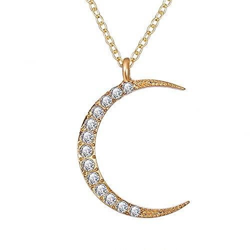 FGFDHJ Collares con Colgante de Oro y Cristal para Mujeres, niñas, Luna, Estrella, Sol, Collar, Gargantilla, Regalo para el Mejor Amigo