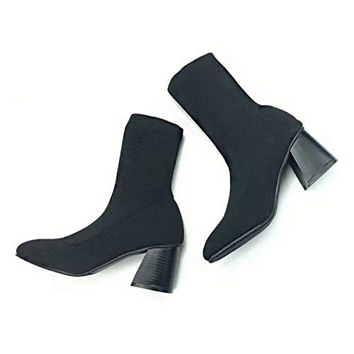 Shukun enkellaarzen skinny boots herfst breien elastische sokken laarzen dames tube Martin laarzen dik met hoge hak laarzen