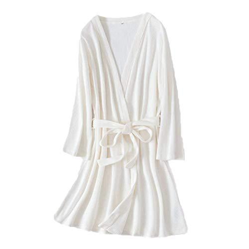DyM Albornoz de algodón con forma de panal de gofres, camisón de pareja de algodón de terciopelo de pino liso, hombres y mujeres simples, servicio a domicilio de longitud media