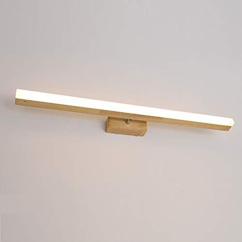 VOMI Lámpara de Espejo Baño Rectángulo LED Prueba de Agua, Moderna Lámpara de Espejo Luz Baño, Luz Espejo de Madera Contra Niebla 40cm, Gabinete Tocadores Cabecera Iluminación de Pared
