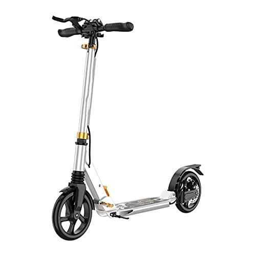 Scooter plegable,freno de disco Scooter de doble freno para adultos y niños,2 scooter de la calle de la ciudad de gran rueda,altura ajustable y amortiguador dual,de carga máxima 300 libras,Blanco