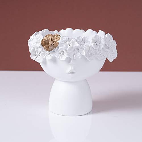SOPRETY Maceteros de resina con bordes de flores en relieve, para plantas, suculentas, ideas de regalo, objetos decorativos para el hogar y la oficina (pequeño 13,5 cm)