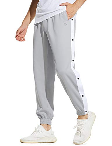 BALEAF Men's Basketball Warm up Pants Sport Running Joggers with Pockets Grey White M