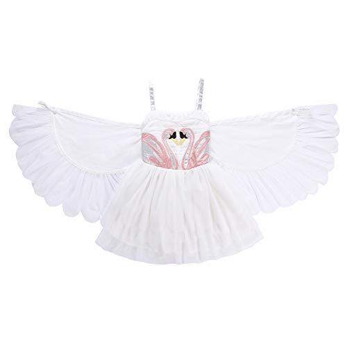 ShiyiUP Weiß Mädchen Kleider Schwan Strickrei Kinder Kostüm mit Flügel Kostüm Balletkleid für Halloween Party Karneval, 130