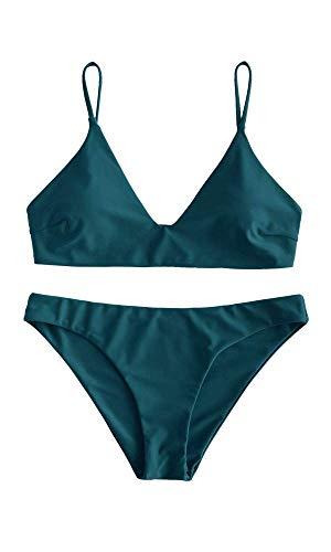 Zaful Bikini da donna composto da reggiseno push-up e slip a vita alta, con motivo floreale, costume da bagno estivo Tinta unita, blu pavone. M