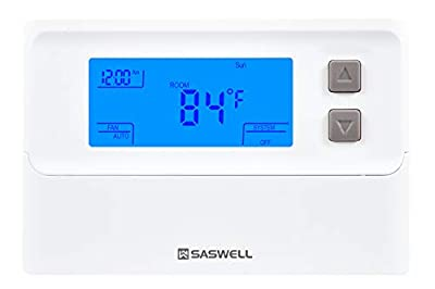 Single Stage 5-2 Programmable HVAC Thermostat with Easy to Read Display,1 Heat 1 Cool,Saswell T21STK-2