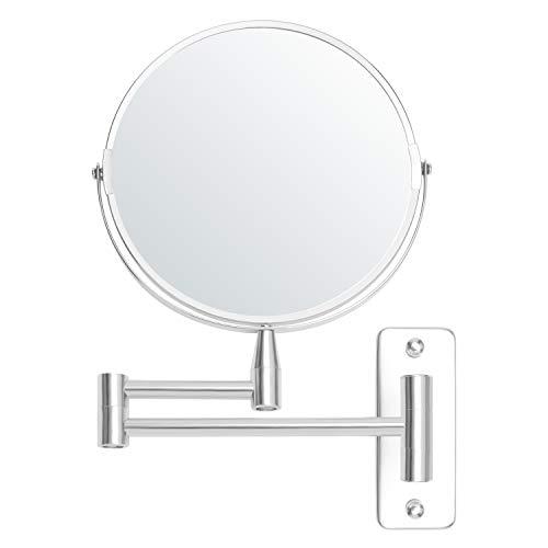 Belle Vous Specchio Rotondo da Parete 22 x 20,7 cm con Testa Girevole 360° - Specchio Trucco Ingranditore 5x Estensibile Acciaio Inox - Specchio Parete Rotondo Rotante - Specchio Ingranditore Trucco