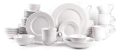 HomeVss, Pearl Dots Porcelain Dinnerware Set (56pc Set, White)