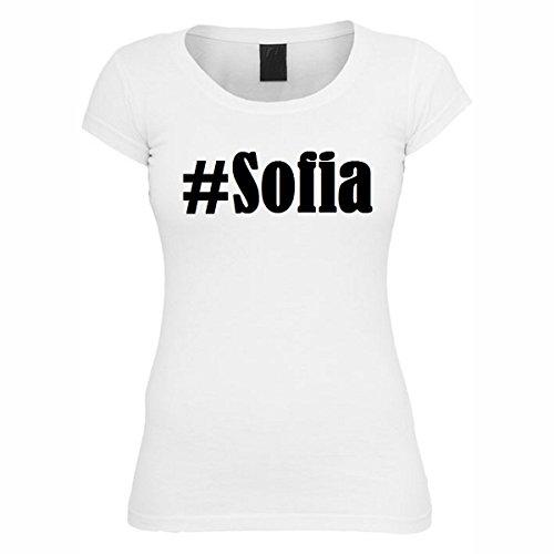 Camiseta #Sofia Hashtag con rombos para mujer, hombre y niños en los colores blanco y negro Blanco XXXX-Large